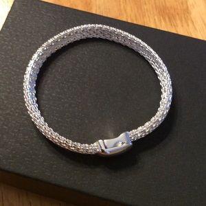 New MONET Woven Silver BRACELET Magnetic Clasp